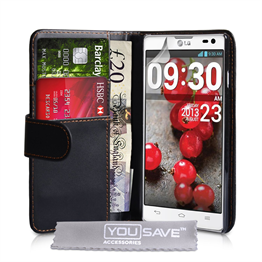 Yousave Accessories LG L9 Ii PU Wallet Black Case