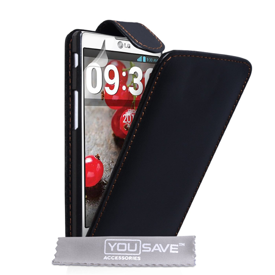 Yousave Accessories LG L9 Ii Real Leather Flip Black Case