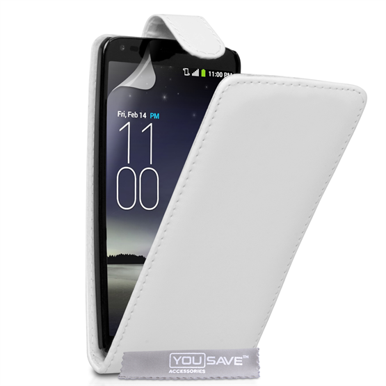 Yousave Accessories LG G Flex Leather-Effect Flip Case - White