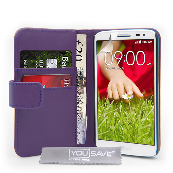 Yousave Accessories LG G2 Mini Leather-Effect Wallet Case - Purple
