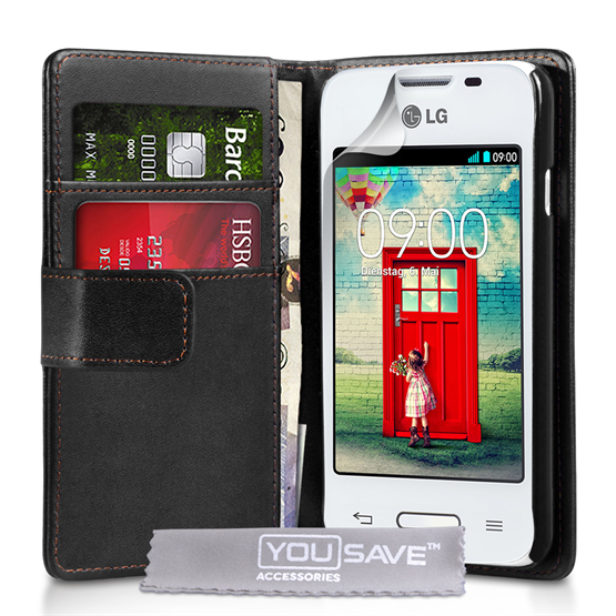 Yousave Accessories LG L40 Leather-Effect Flip Case - Red