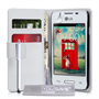 Yousave Accessories LG L40 Leather-Effect Wallet Case - White