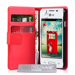 Yousave Accessories LG L40 Leather-Effect Wallet Case - Red