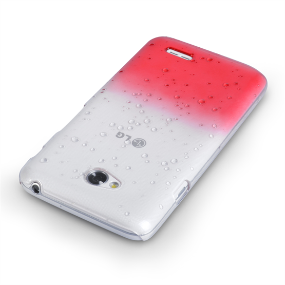 Yousave Accessories LG L70 Raindrop Hard Case - Red-Clear