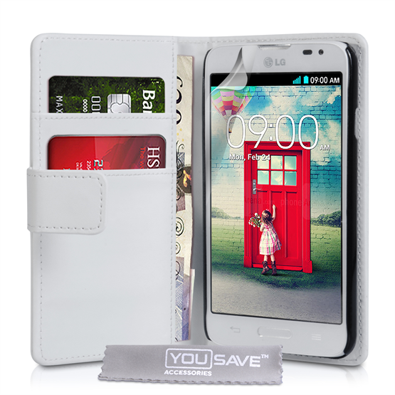 Yousave Accessories LG L70 Leather-Effect Wallet Case - White