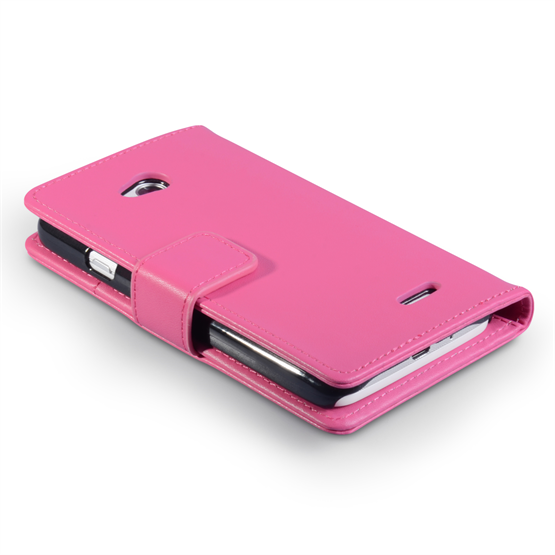 Yousave Accessories LG L70 Leather-Effect Wallet Case - Hot Pink