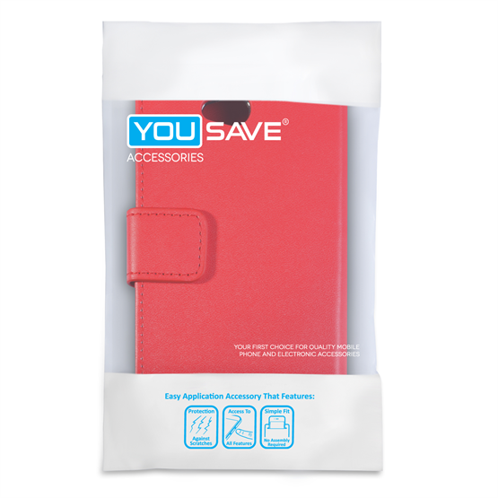 Yousave Accessories LG L70 Leather-Effect Wallet Case - Red