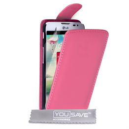 Yousave Accessories LG L90 Leather-Effect Flip Case - Hot Pink