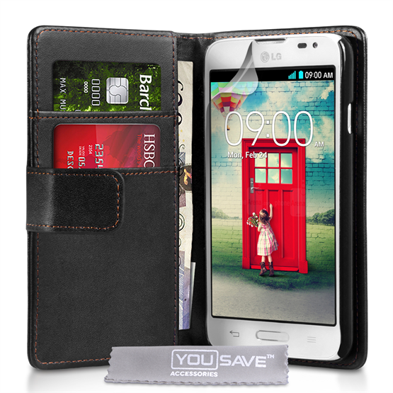 Yousave Accessories LG L90 Leather-Effect Wallet Case - Black