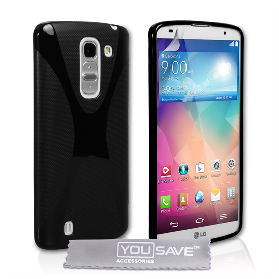 Yousave Accessories LG G Pro 2 Silicone Gel X-Line Case - Black