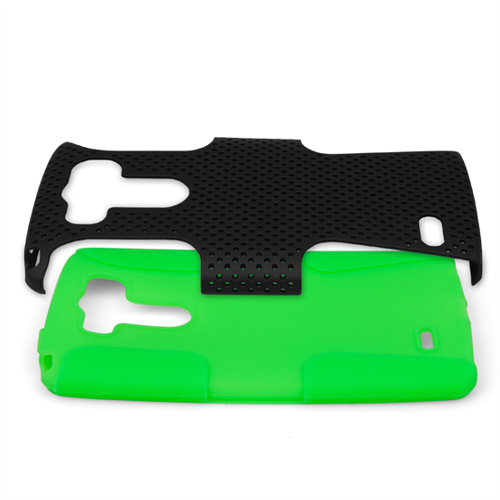 Yousave Accessories LG G3 Tough Mesh Combo Silicone Case - Green-Black