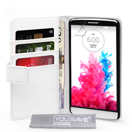 Yousave Accessories LG G3 Leather-Effect Wallet Case - White