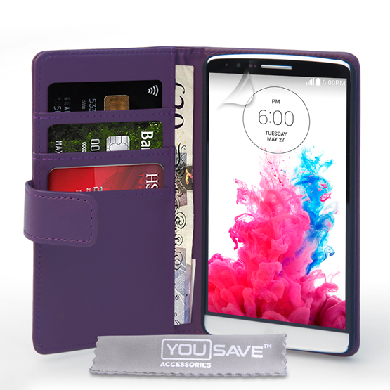 Yousave Accessories LG G3 Leather-Effect Wallet Case - Purple