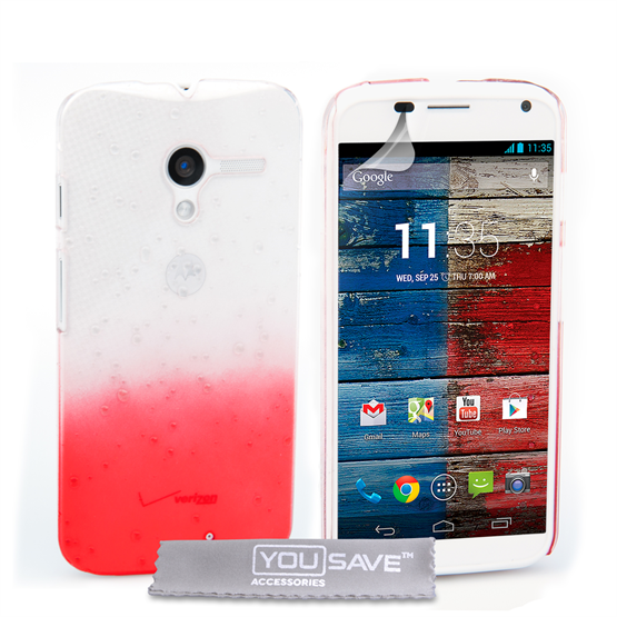 Yousave Accessories Motorola Moto X Raindrop Hard Case - Red-Clear