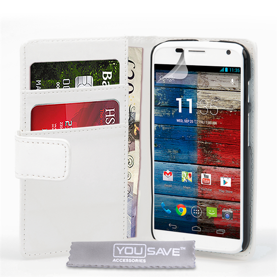 Yousave Accessories Motorola Moto X Leather-Effect Wallet Case - White