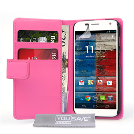 Yousave Accessories Motorola Moto X Leather-Effect Wallet Case - Hot Pink