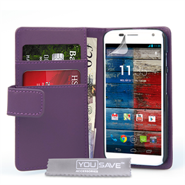 Yousave Accessories Motorola Moto X Leather-Effect Wallet Case - Purple