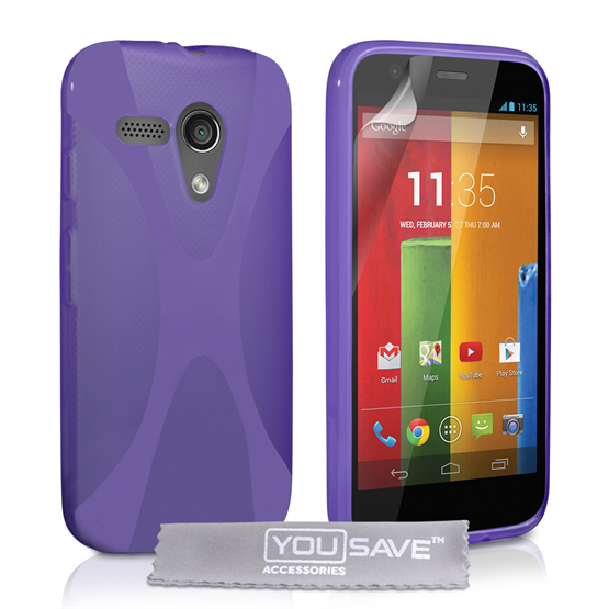 Yousave Accessories Motorola Moto G Silicone Gel X-Line Case - Purple