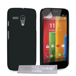 Yousave Accessories Motorola Moto G Hard Hybrid Case - Black
