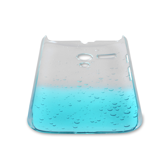 Yousave Accessories Motorola Moto G Raindrop Hard Case - Blue-Clear