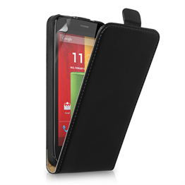 Yousave Accessories Motorola Moto G Real Leather Flip Black Case