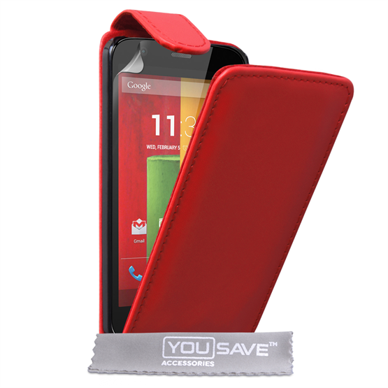 Yousave Accessories Motorola Moto G Leather-Effect Flip Case - Red