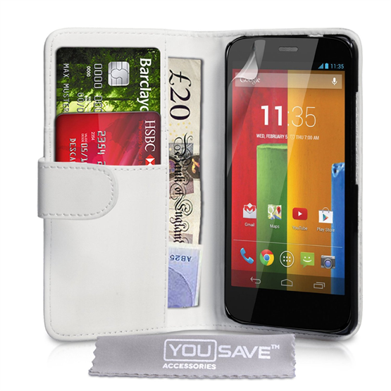 Yousave Accessories Motorola Moto G Leather-Effect Wallet Case - White