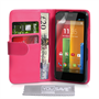 Yousave Accessories Motorola Moto G Leather-Effect Wallet Case - Hot Pink