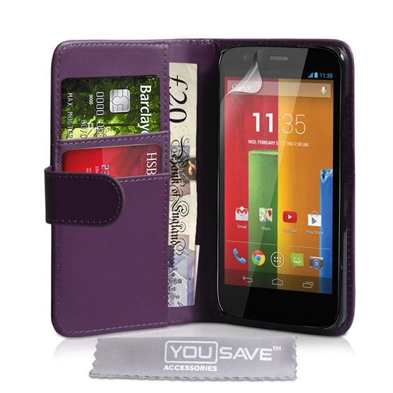 Yousave Accessories Motorola Moto G Leather-Effect Wallet Case - Purple