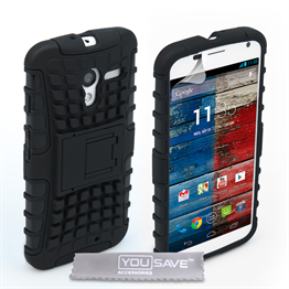 Yousave Accessories Motorola Moto X Stand Combo Black Case