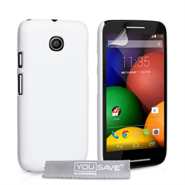 Yousave Accessories Motorola Moto E Hard Hybrid Case - White