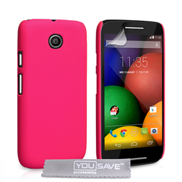 Yousave Accessories Motorola Moto E Hard Hybrid Case - Hot Pink