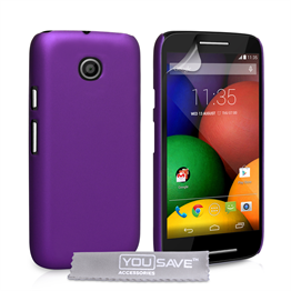 Yousave Accessories Motorola Moto E Hard Hybrid Case - Purple