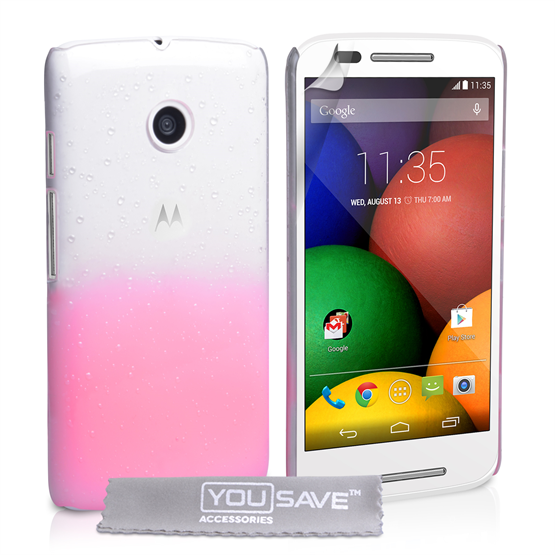 Yousave Accessories Motorola Moto E Raindrop Hard Case - Baby Pink-Clear