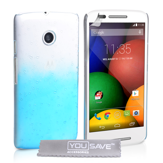 Yousave Accessories Motorola Moto E Raindrop Hard Case - Blue-Clear