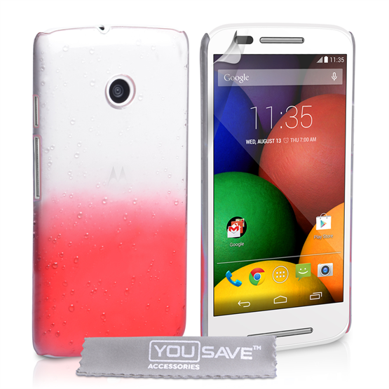 Yousave Accessories Motorola Moto E Raindrop Hard Case - Red-Clear