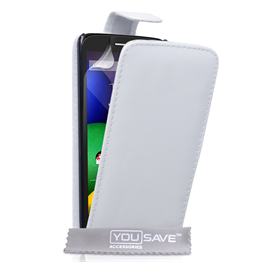 Yousave Accessories Motorola Moto E Leather-Effect Flip Case - White