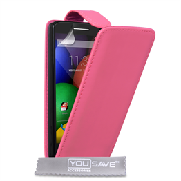 Yousave Accessories Motorola Moto E Leather-Effect Flip Case - Hot Pink