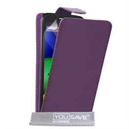 Yousave Accessories Motorola Moto E Leather-Effect Flip Case - Purple