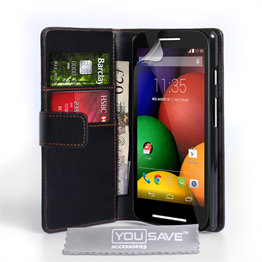 Yousave Accessories Motorola Moto E Leather-Effect Wallet Case - Black