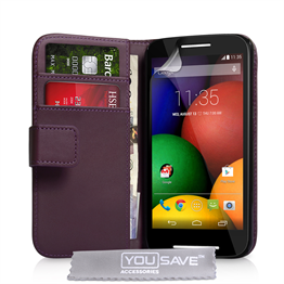 Yousave Accessories Motorola Moto E Leather-Effect Wallet Case - Purple