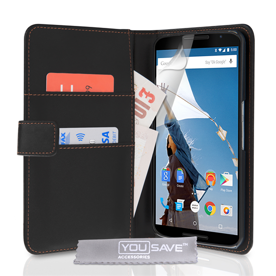 Yousave Accessories Google Nexus 6 Leather-Effect Wallet Case - Black
