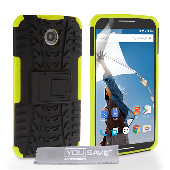 Yousave Accessories Google Nexus 6 Stand Combo Case - Green / Black