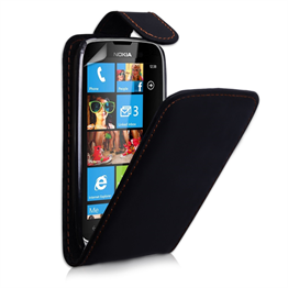Yousave Accessories Nokia Lumia 610 PU Flip Black Case