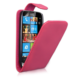 Yousave Accessories Nokia Lumia 610 Flip Pu Hot Pink Case