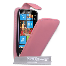 Yousave Accessories Nokia Lumia 610 Flip Pu Baby Pink Case