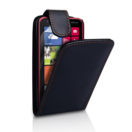 Yousave Accessories Nokia Lumia 620 Leather-Effect Flip Case - Black