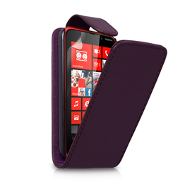 Yousave Accessories Nokia Lumia 620 Leather-Effect Flip Case - Purple