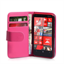 Yousave Accessories Nokia Lumia 620 Leather-Effect Wallet Case - Hot Pink