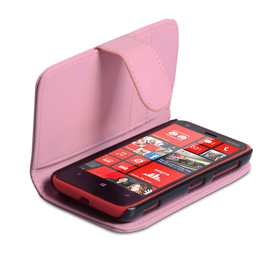 Yousave Accessories Nokia Lumia 620 PU Wallet Baby Pink Case